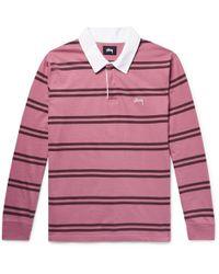 Stussy - Striped Cotton-jersey Polo Shirt - Lyst