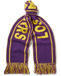 The Elder Statesman - - Nba Lakers Fringed Intarsia Cashmere Scarf - Purple - Lyst