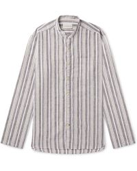 Oliver Spencer - Grandad-collar Striped Cotton And Linen-blend Shirt - Lyst