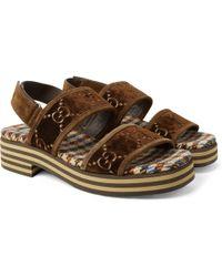 78daf3fe7 Gucci - Suede-trimmed Logo-embroidered Velvet Sandals - Lyst