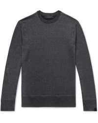 Rag & Bone - Dean Mélange Merino Wool, Linen And Cotton-blend Jumper - Lyst