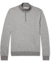 Hackett - Mélange Wool-blend Half-zip Jumper - Lyst