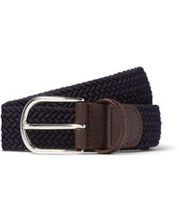 Andersons - 3.5cm Midnight-blue Woven Waxed-cord Belt - Lyst