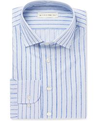 Etro - Blue Slim-fit Striped Fil Coupé Cotton Shirt - Lyst