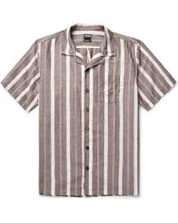 Todd Snyder - Camp-collar Striped Cotton And Linen-blend Shirt - Lyst