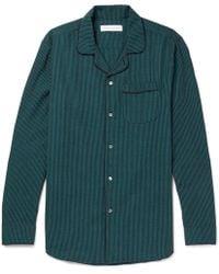Desmond & Dempsey - Striped Cotton-seersucker Pyjama Shirt - Lyst