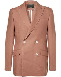 Favourbrook - Terracotta Evering Orion Slim-fit Double-breasted Linen Tuxedo Jacket - Lyst