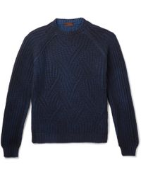 Altea - Mélange Cable-knit Virgin Wool Jumper - Lyst