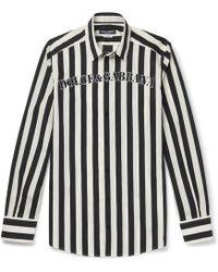 Dolce & Gabbana - Slim-fit Logo-print Striped Cotton-poplin Shirt - Lyst