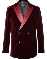 Favourbrook - Burgundy Slim-fit Double-breasted Satin-trimmed Cotton-velvet Tuxedo Jacket - Lyst