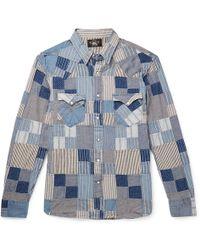 0ed5a490 RRL - Slim-fit Patchwork Cotton And Linen-blend Shirt - Lyst