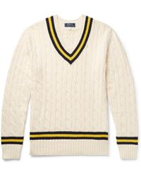 Polo Ralph Lauren - Striped Cable-knit Cotton And Cashmere-blend Sweater - Lyst
