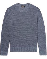 Club Monaco - Slim-fit Textured Linen And Cotton-blend Jumper - Lyst