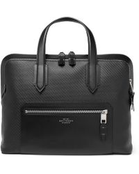 Smythson - Greenwich Leather-trimmed Lacquered-cotton Briefcase - Lyst