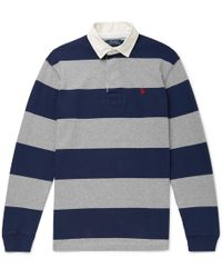 Polo Ralph Lauren - Twill-trimmed Striped Cotton-jersey Polo Shirt - Lyst