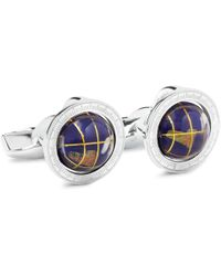 Tateossian - Globe Cage Sterling Silver Multi-stone Cufflinks - Lyst