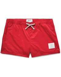 Thom Browne - Short-length Stripe-trimmed Swim Shorts - Lyst