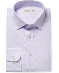 Etro - Sky-blue Slim-fit Cutaway-collar Textured-cotton Shirt - Lyst