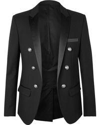 Balmain - Black Slim-fit Double-breasted Satin-trimmed Cotton Blazer - Lyst