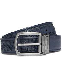 Ermenegildo Zegna - 3.5cm Blue Reversible Pelle Tessuta Leather Belt - Lyst