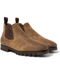 Santoni - Shearling-lined Oiled-suede Chelsea Boots - Lyst