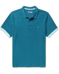 Vilebrequin - - Palatin Slim-fit Contrast-tipped Cotton-piqué Polo Shirt - Blue - Lyst