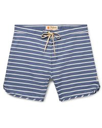 Mollusk - Mid-length Striped Cotton-blend Swim Shorts - Lyst