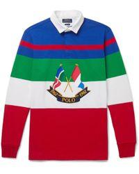 Polo Ralph Lauren - Appliquéd Striped Cotton-jersey Polo Shirt - Lyst