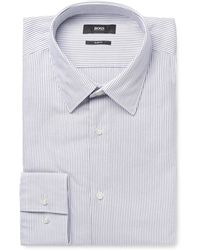 BOSS - White Jack Slim-fit Pinstriped Cotton-oxford Shirt - Lyst