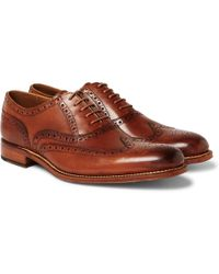 Grenson - Dylan Burnished-leather Wingtip Brogues - Lyst