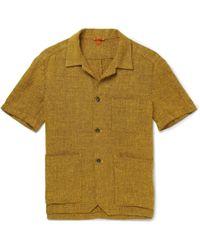 Barena - Camp-collar Mélange Linen-blend Shirt - Lyst