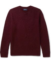 Polo Ralph Lauren - Suede Elbow-patch Wool And Cashmere-blend Jumper - Lyst