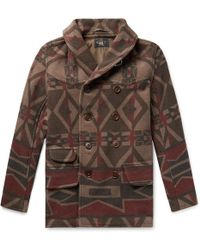 RRL - Ramsey Shawl-collar Double-breasted Printed Wool-blend Coat - Lyst