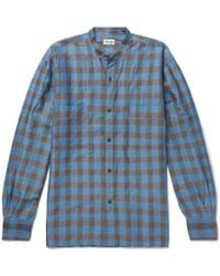 Camoshita - Grandad-collar Checked Ramie And Cotton-blend Shirt - Lyst