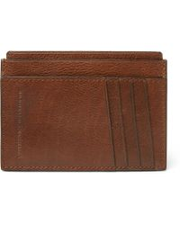 Brunello Cucinelli - Burnished Full-grain Leather Cardholder - Lyst