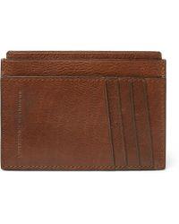 Brunello Cucinelli - Burnished Full-grain Leather Cardholder - Lyst