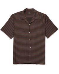 Freemans Sporting Club - Camp-collar Striped Cotton-blend Twill Shirt - Lyst