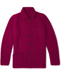 Anderson & Sheppard - Slim-fit Textured Wool And Cashmere-blend Cardigan - Lyst