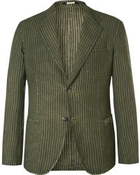 Massimo Alba - Green Slim-fit Unstructured Striped Linen Blazer - Lyst