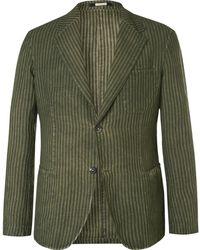 Massimo Alba - Green Slim-fit Unstructured Striped Linen Blazer - Lyst