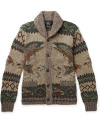 RRL - Shawl-collar Intarsia Wool-blend Cardigan - Lyst