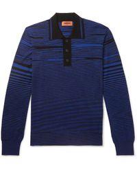 Missoni - Striped Wool Polo Shirt - Lyst