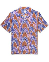 You As - Miles Leaf Print Short Sleeved Twill Shirt - Lyst