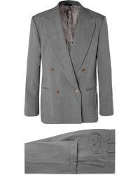Giorgio Armani - Light-grey Loose-fit Double-breasted Grain De Poudre Suit - Lyst