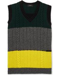 JOSEPH - Slim-fit Colour-block Cable-knit Wool Sweater Vest - Lyst