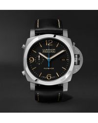 Officine Panerai - Luminor 1950 3 Days 44mm Automatic Flyback Chronograph Stainless Steel And Leather Watch - Lyst