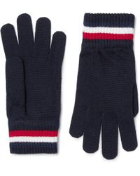 Moncler - Striped Virgin Wool Gloves - Lyst