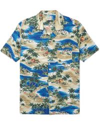 J.Crew - Camp-collar Printed Slub Cotton Shirt - Lyst