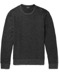 Club Monaco - Slim-fit Zip-detailed Brushed-fleece Sweatshirt - Lyst