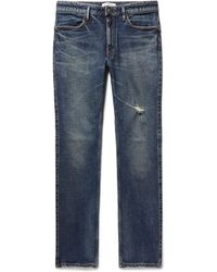 Nonnative - Dweller Slim-fit Distressed Stretch-denim Jeans - Lyst